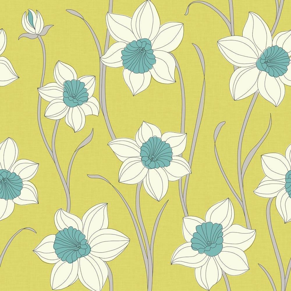 Fine Decor Daffodil Wallpaper Lime Green Teal White