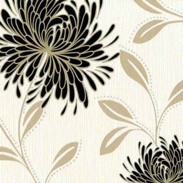 Buy Belgravia Dahlia Wallpaper Black Cream