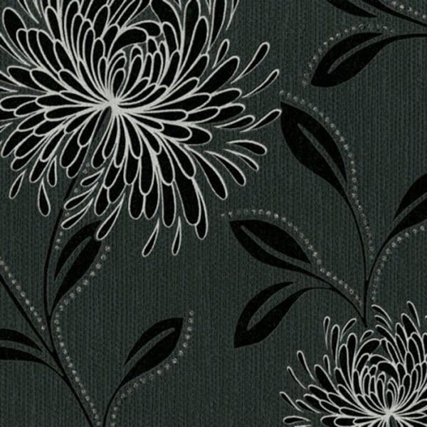 Buy Belgravia Dahlia Wallpaper Black Silver