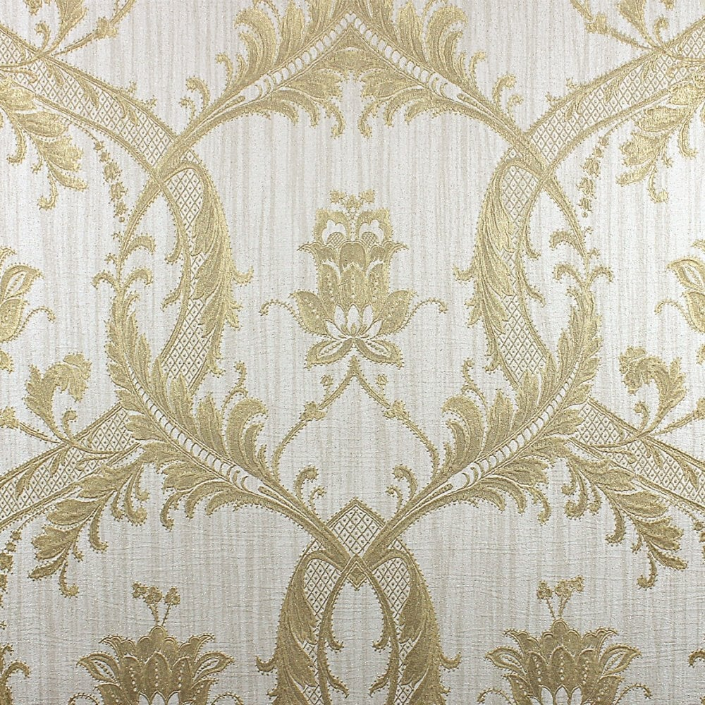 Milano Damask Glitter Wallpaper Cream Gold M95559