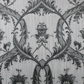 Damask Glitter Wallpaper Silver Black