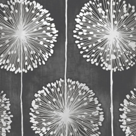 Dandelion Floral Wallpaper Black / Grey (J04219)