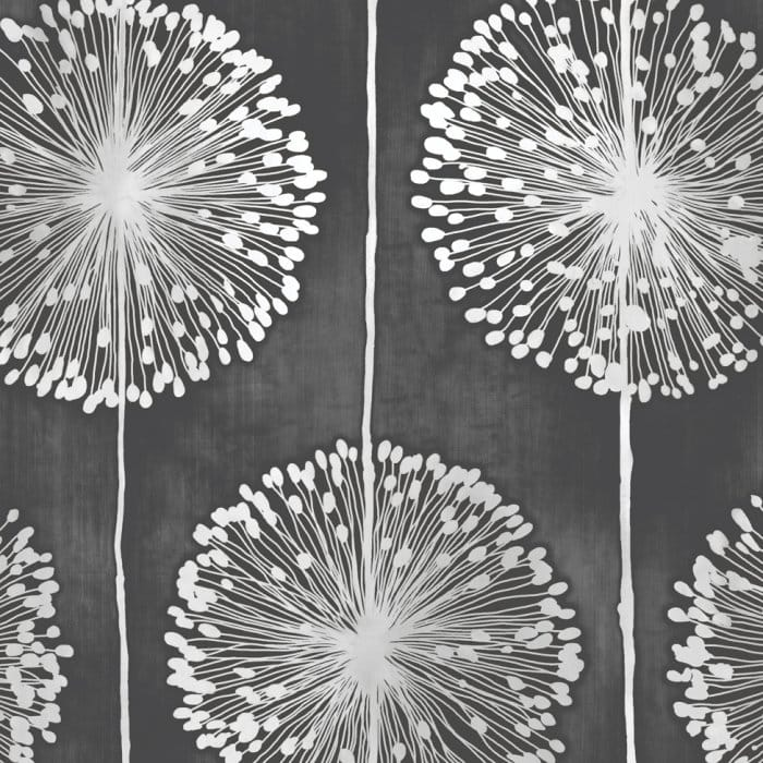 Dandelion Floral Wallpaper Black Grey