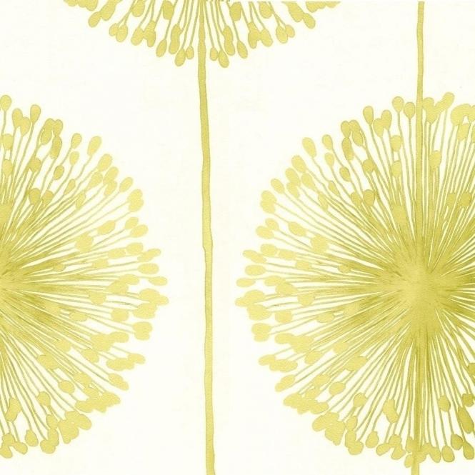 Muriva Dandelion Floral Wallpaper Cream Lime Green
