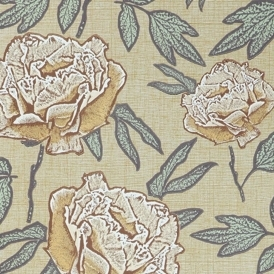 Dandy Hand Screen Printed Floral Wallpaper Apricot Blush