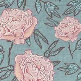 Dandy Hand Screen Printed Floral Wallpaper Blue Note