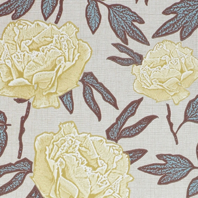 Jocelyn Warner Dandy Hand Screen Printed Floral Wallpaper Lemony (JWP-1701)