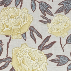 Dandy Hand Screen Printed Floral Wallpaper Lemony