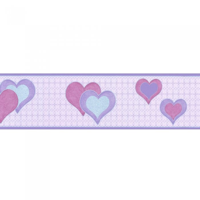 Buy Debona Hearts Wallpaper Border Lilac Silver