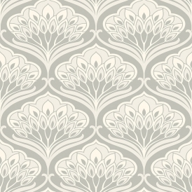 Deco Peacock Wallpaper Light Grey