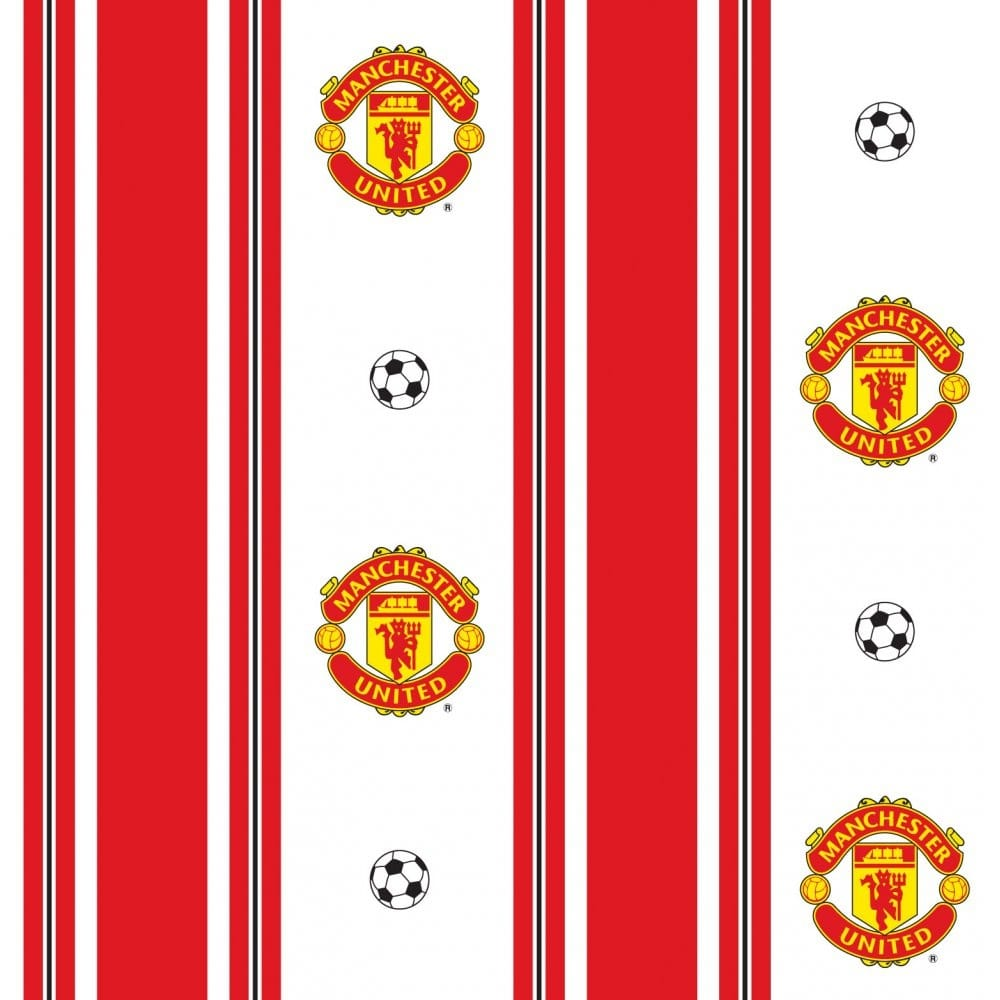 Decofun manchester utd striped wallpaper mufc official for Man u bedroom stuff