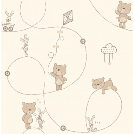 Carousel Bear & Boo Childrens Wallpaper Natural Cream / Beige (DL21100)