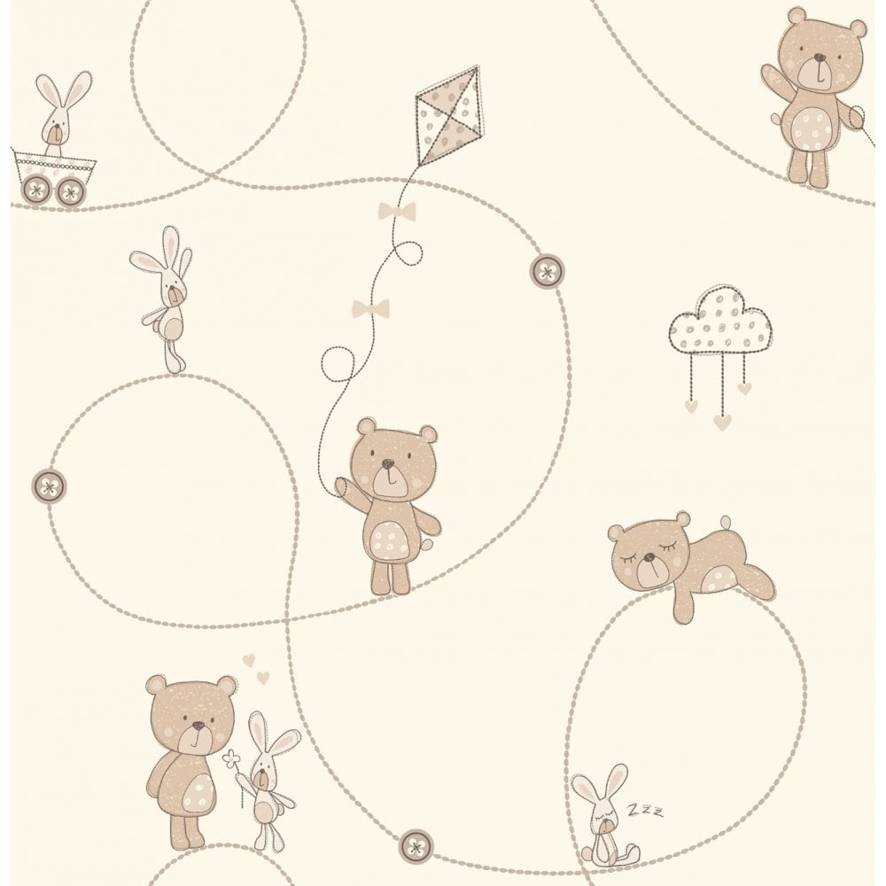 Decorline Carousel Bear Boo Childrens Wallpaper Natural Cream