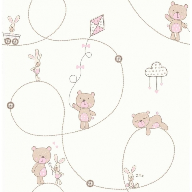 Decorline Carousel Bear & Boo Childrens Wallpaper White / Pink / Beige (DL21103)