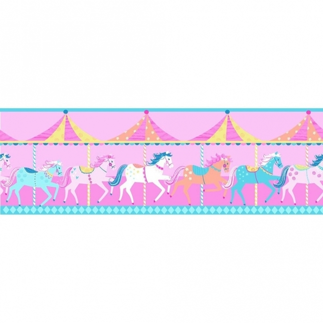 Decorline Carousel Childrens Border Pink and Blue (DLB50080)