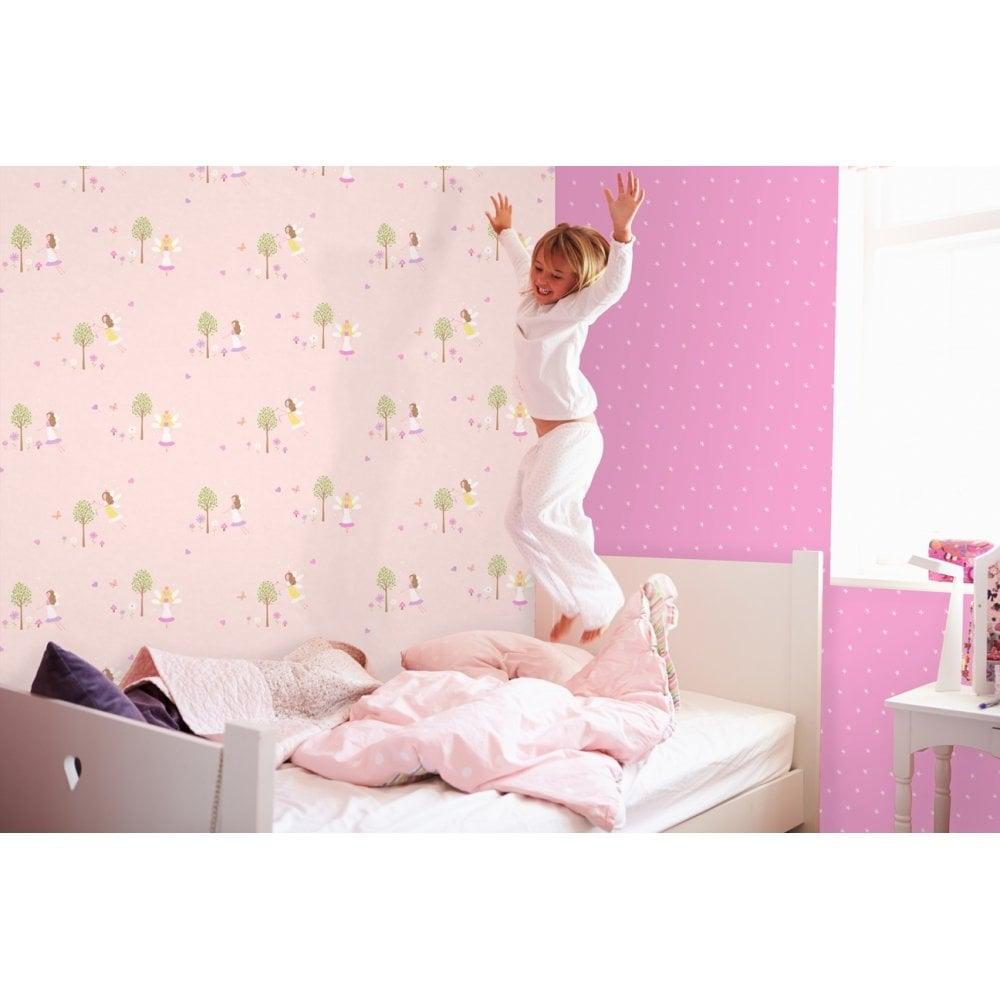 Carousel Fairy Garden Childrens Wallpaper Pink DL21127