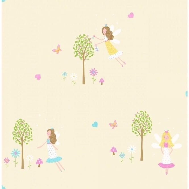 Decorline Carousel Fairy Garden Childrens Wallpaper Yellow (DL21128)