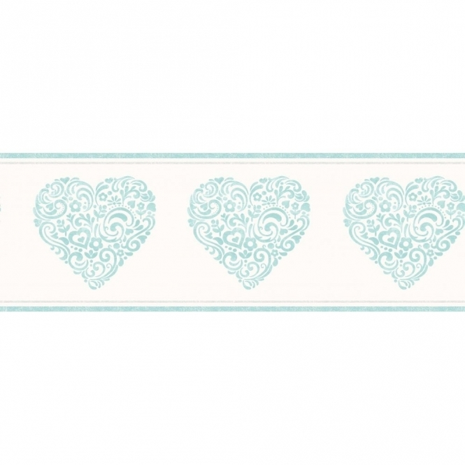 Decorline Carousel Pearlescent Hearts Border Blue (DLB50077)