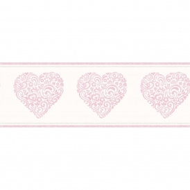 Carousel Pearlescent Hearts Border Pink (DLB50079)