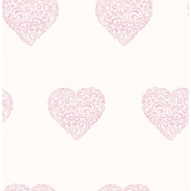 Carousel Pearlescent Hearts Wallpaper Pink / White (DL21115)