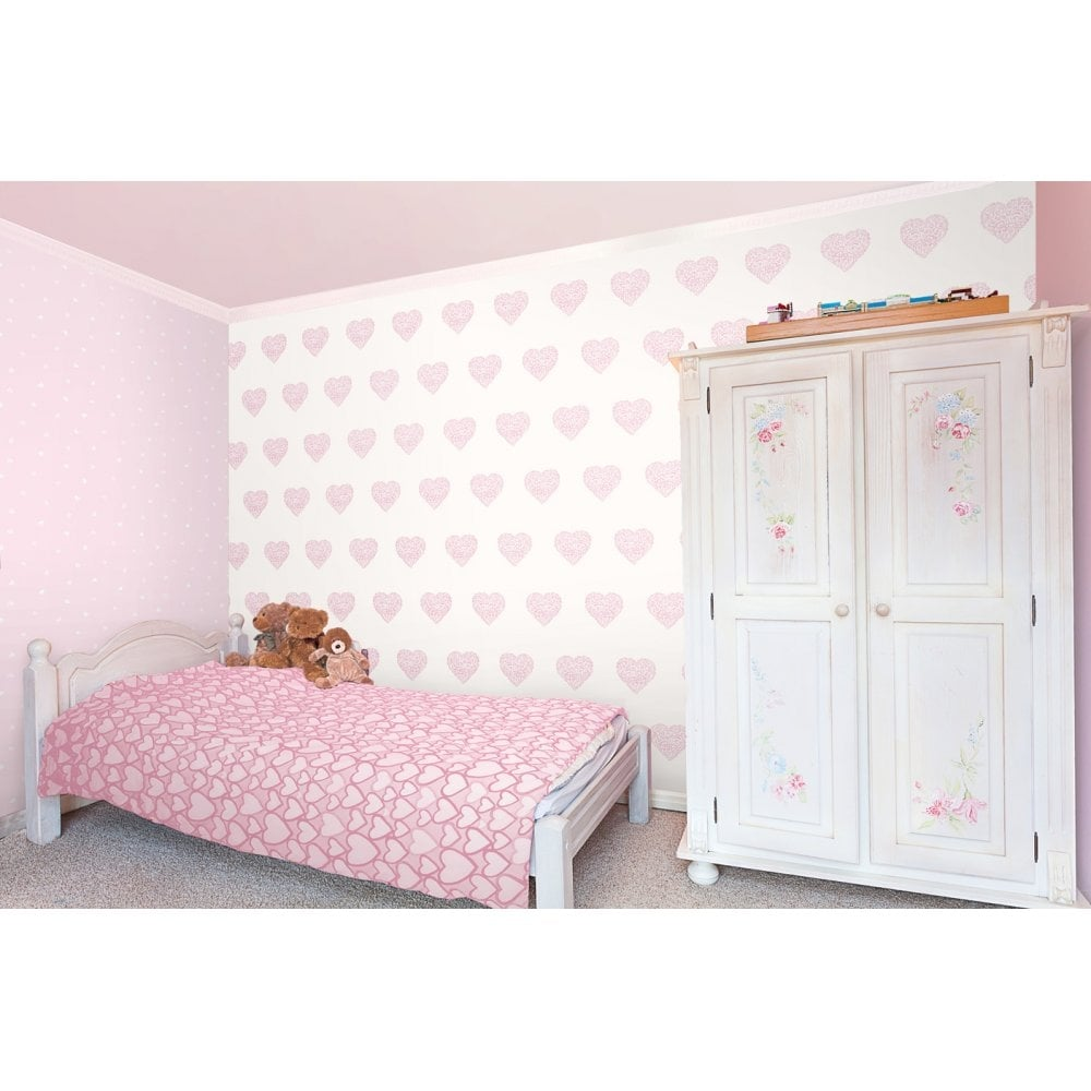 Decorline Carousel Pearlescent Hearts Wallpaper Pink White