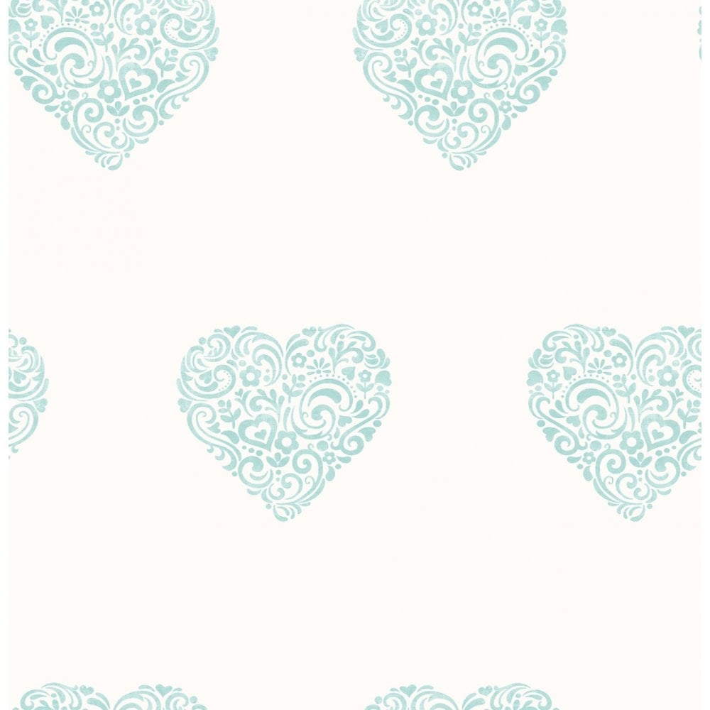 Carousel Pearlescent Hearts Wallpaper Teal White