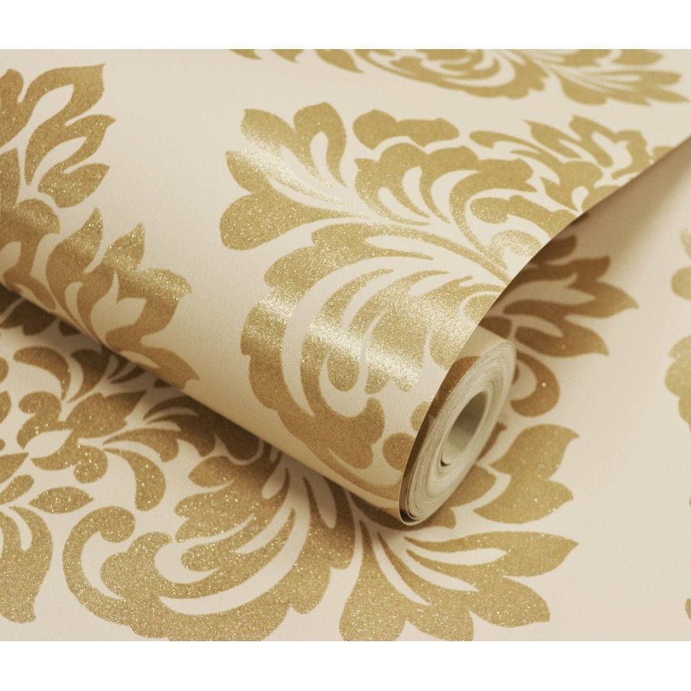 Decorline Sparkle Damask Wallpaper Cream Gold Dl40213