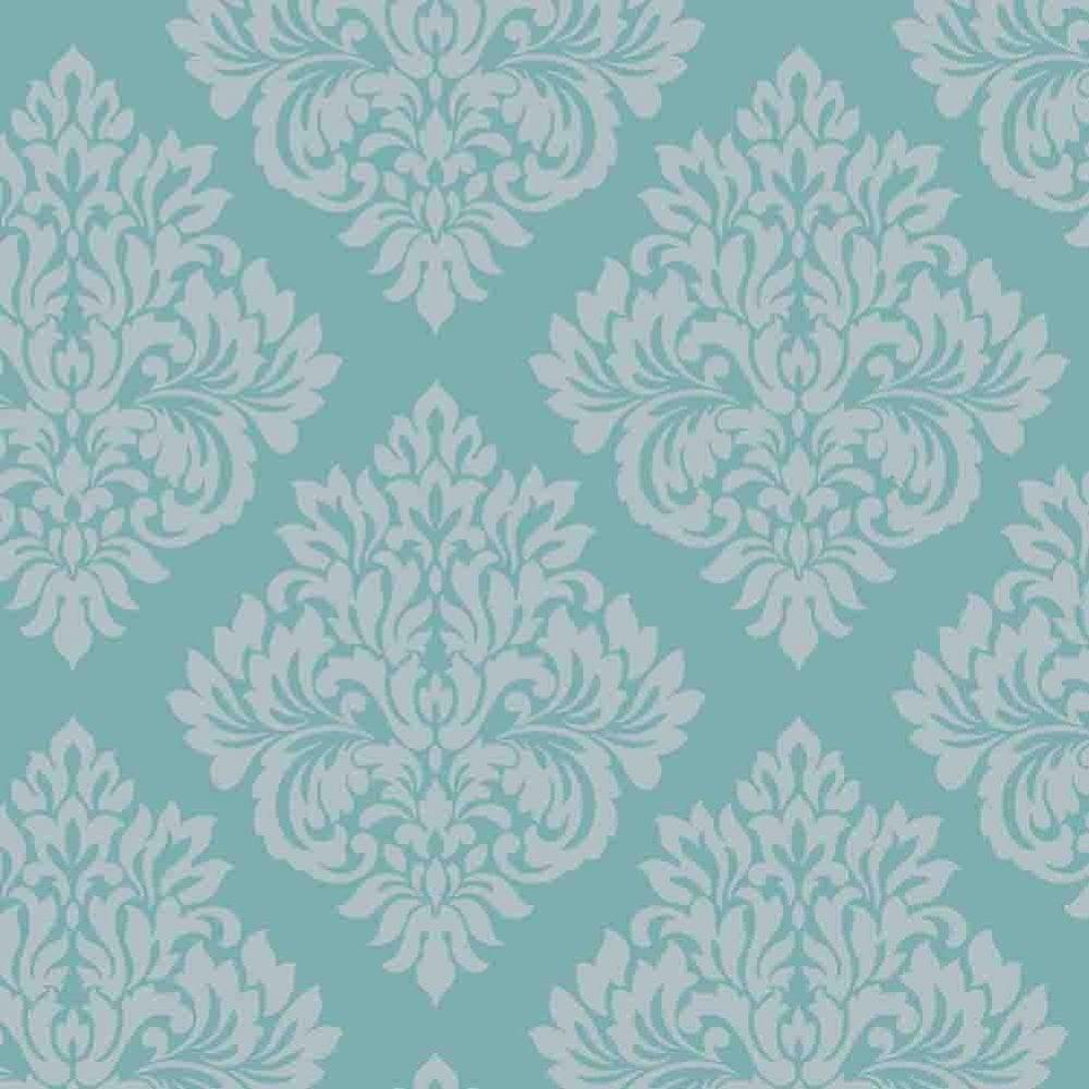 Decorline Sparkle Damask Wallpaper Teal Silver Dl40203