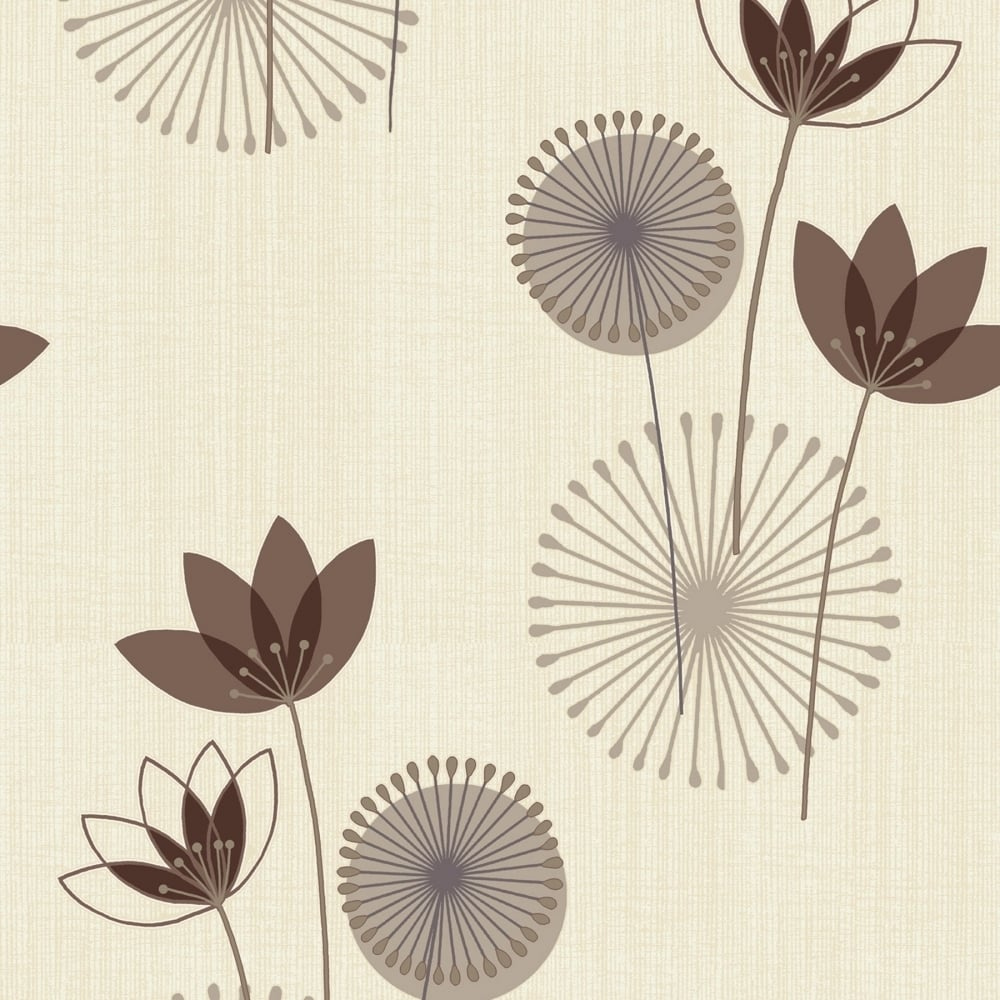 Akina Floral Wallpaper Chocolate Cream 75463