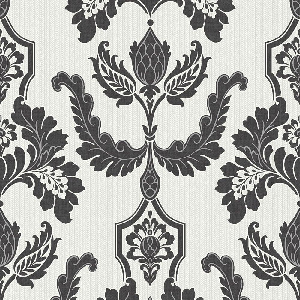 Damask Wallpaper/ Black White Cream Country Damask Wallpaper ...