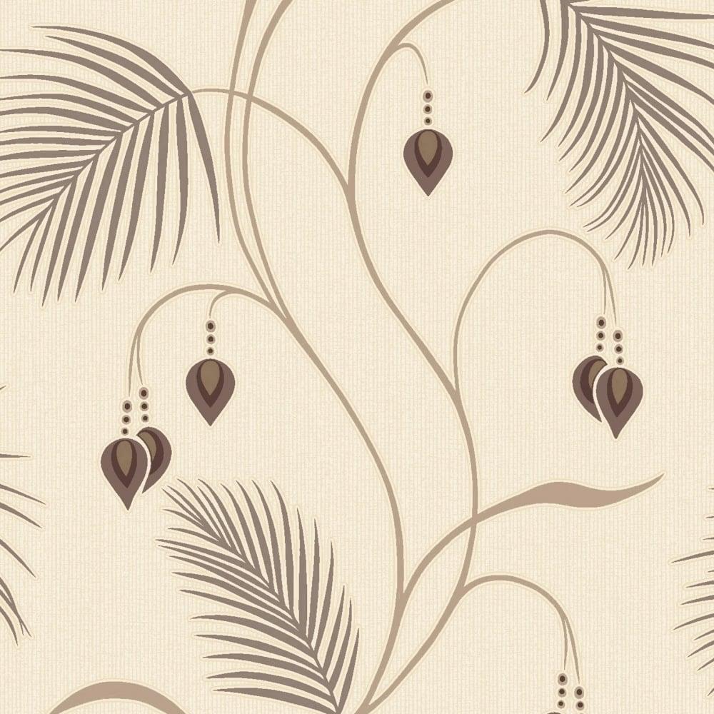 Designer Interiors Moriko Floral Wallpaper Choc Cream - Brown and cream wallpaper