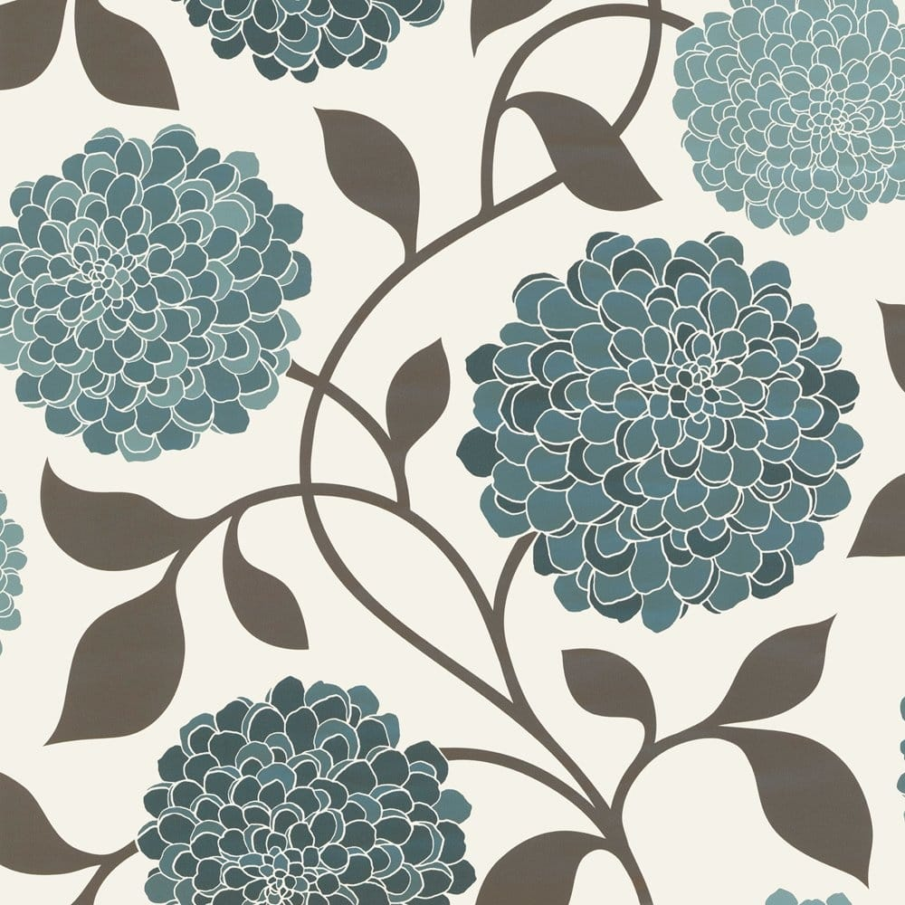 Designer selection bloom floral wallpaper teal cream for Designer wallpaper uk