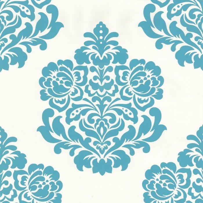 Designer Selection Bold Damask Wallpaper Teal Cream