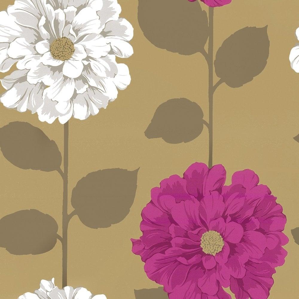 Camilla Floral Wallpaper Metallic Gold Pink White 01429CF