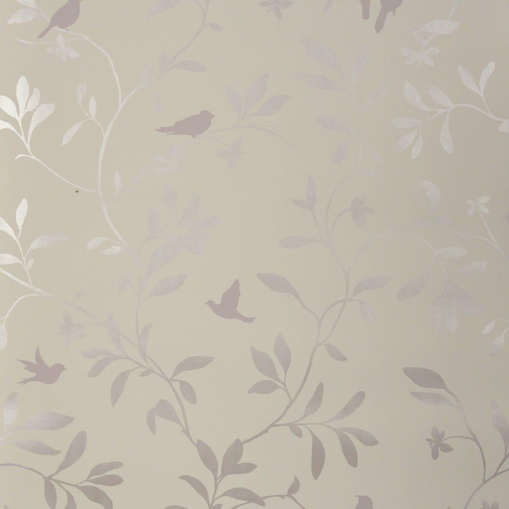 Designer Selection Chalk Twig Bird Wallpaper Mauve 478013