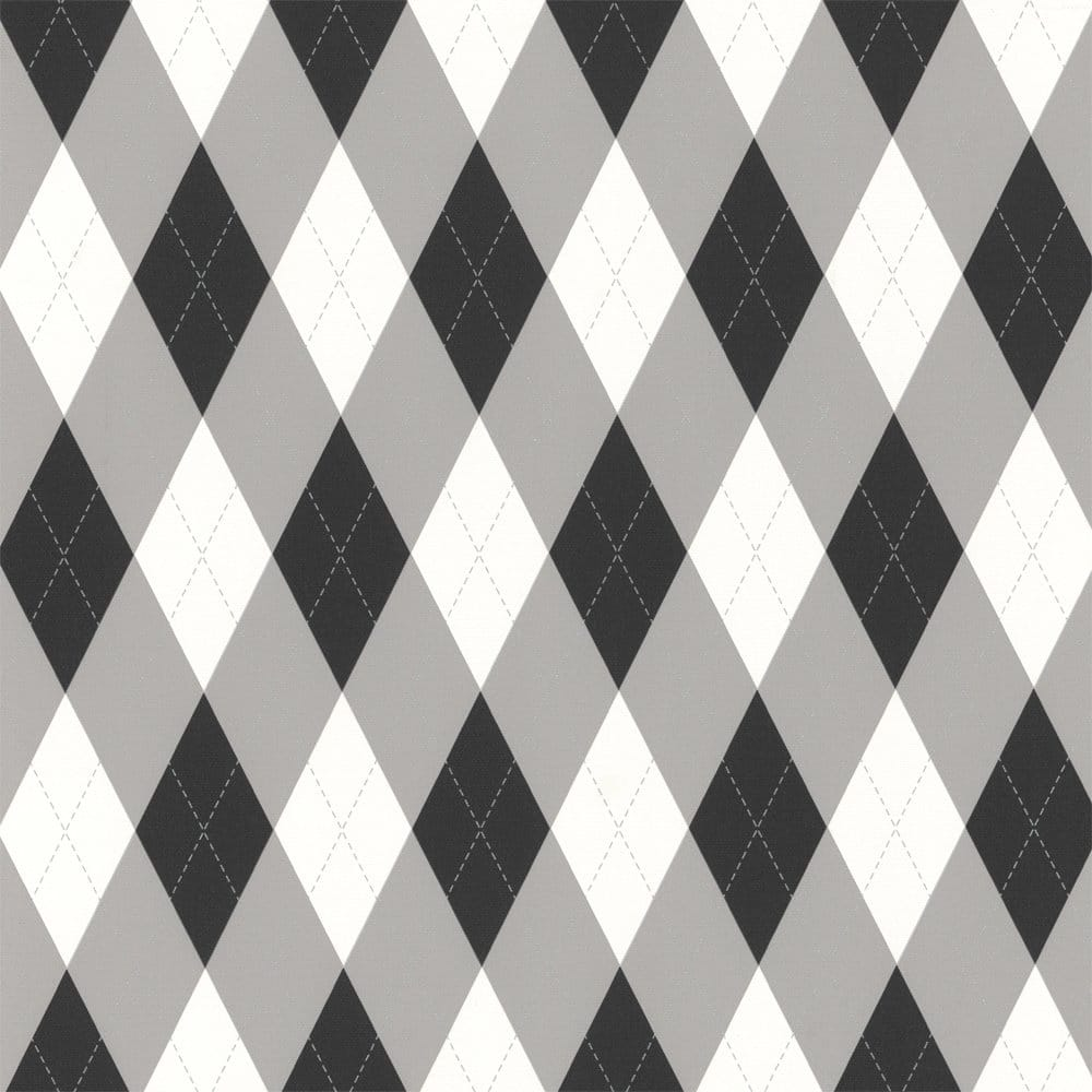 Gray Black White And Gold Bedroom: Designer Selection Check Wallpaper White / Grey / Black
