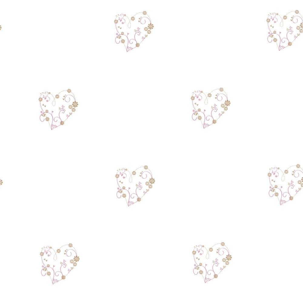 Designer Selection Delicate Hearts Wallpaper White Pink