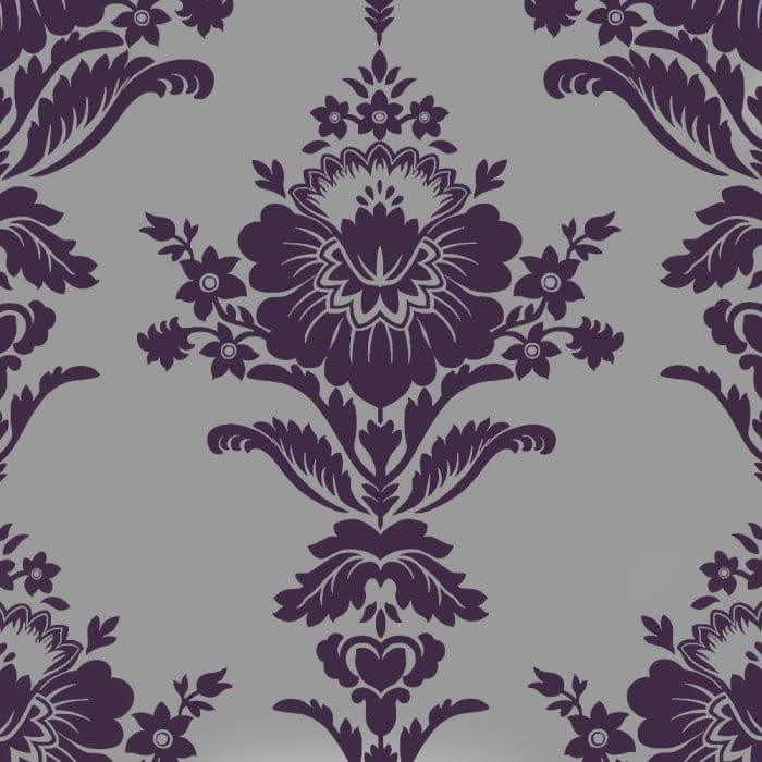Designer selection heritage damask purple silver for Purple and silver wallpaper