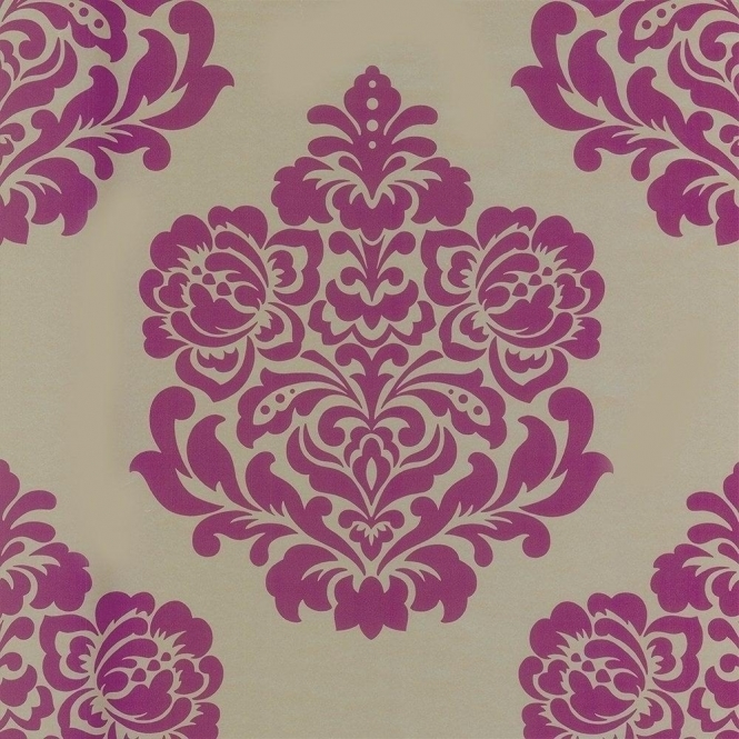 Designer Selection Indulge Damask Wallpaper Rich Gold / Pink / Berry (01429IDW)