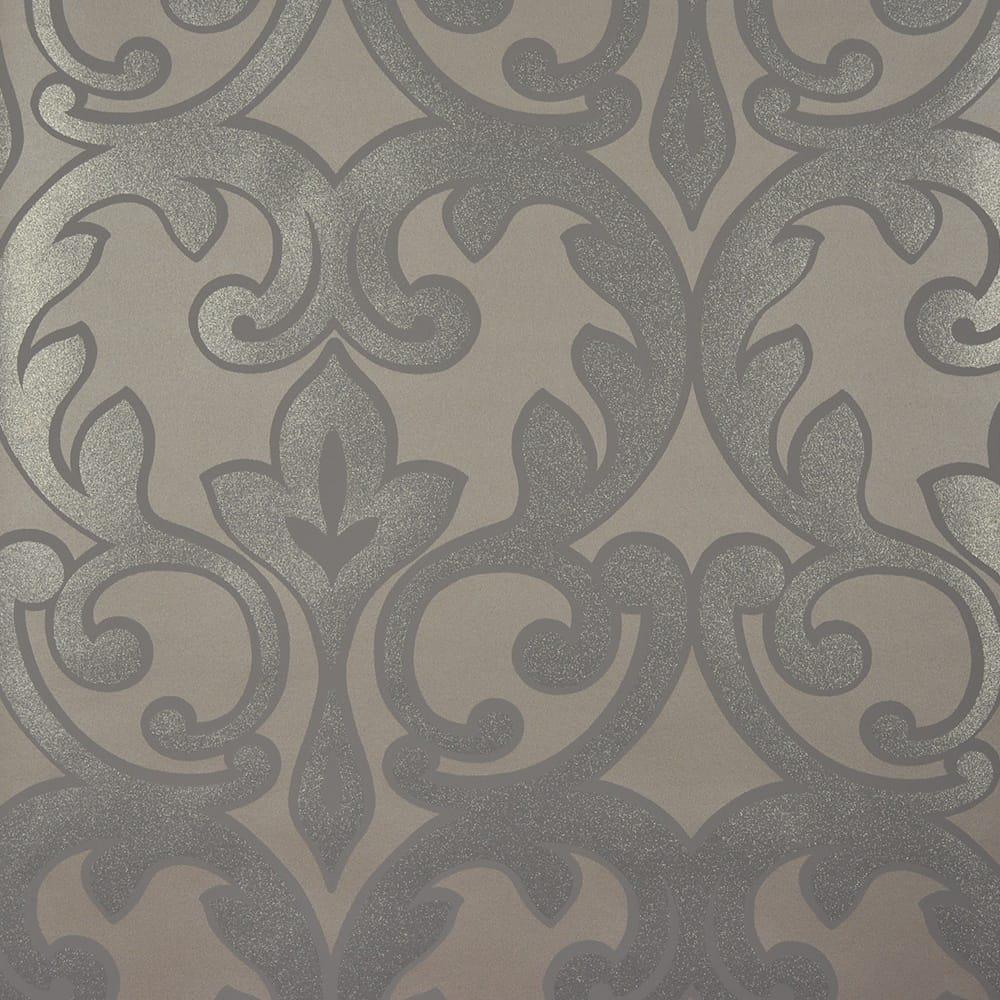 Designer Selection Salon Damask Wallpaper Pewter Grey