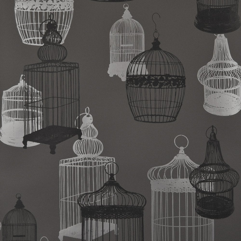 Designer Selection Silhouette Birdcage Wallpaper Charcoal HD Wallpapers Download Free Images Wallpaper [1000image.com]