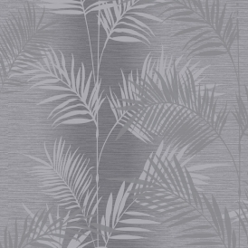 Diamond Palm Leaf Wallpaper Charcoal