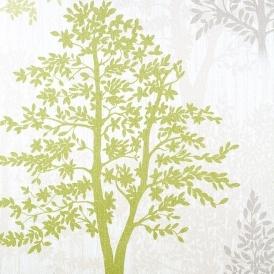 Diamond Tree Wallpaper Green Grey Glitter