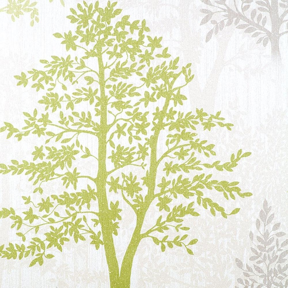 Arthouse Diamond Tree Wallpaper Green Grey Glitter
