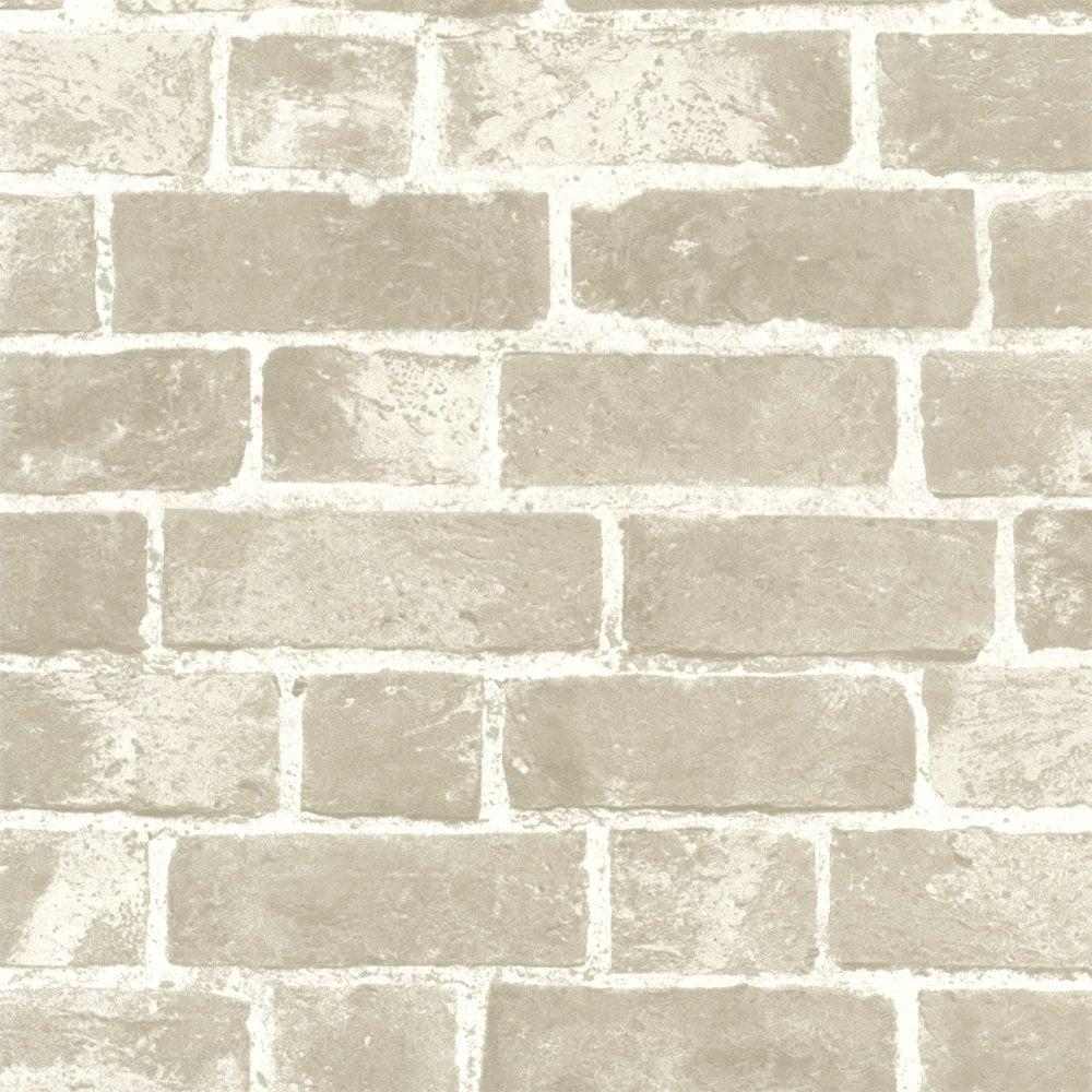 Buy Distinctive Brick Wallpaper Cream And Taupe