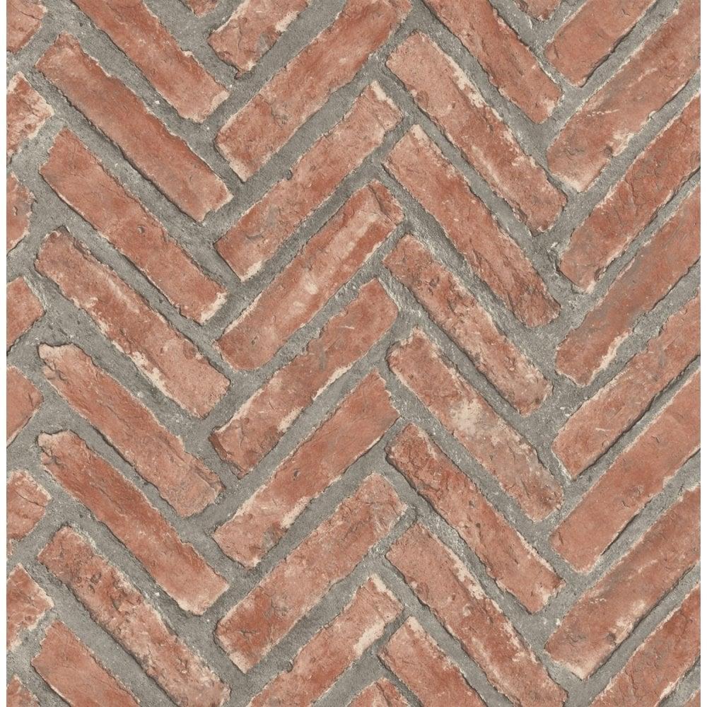 Distinctive Herringbone Brick Wallpaper Natural Red