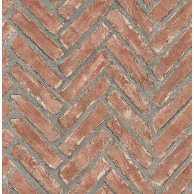 Fine Decor Distinctive Herringbone Brick Wallpaper Natural Red (FD40884)