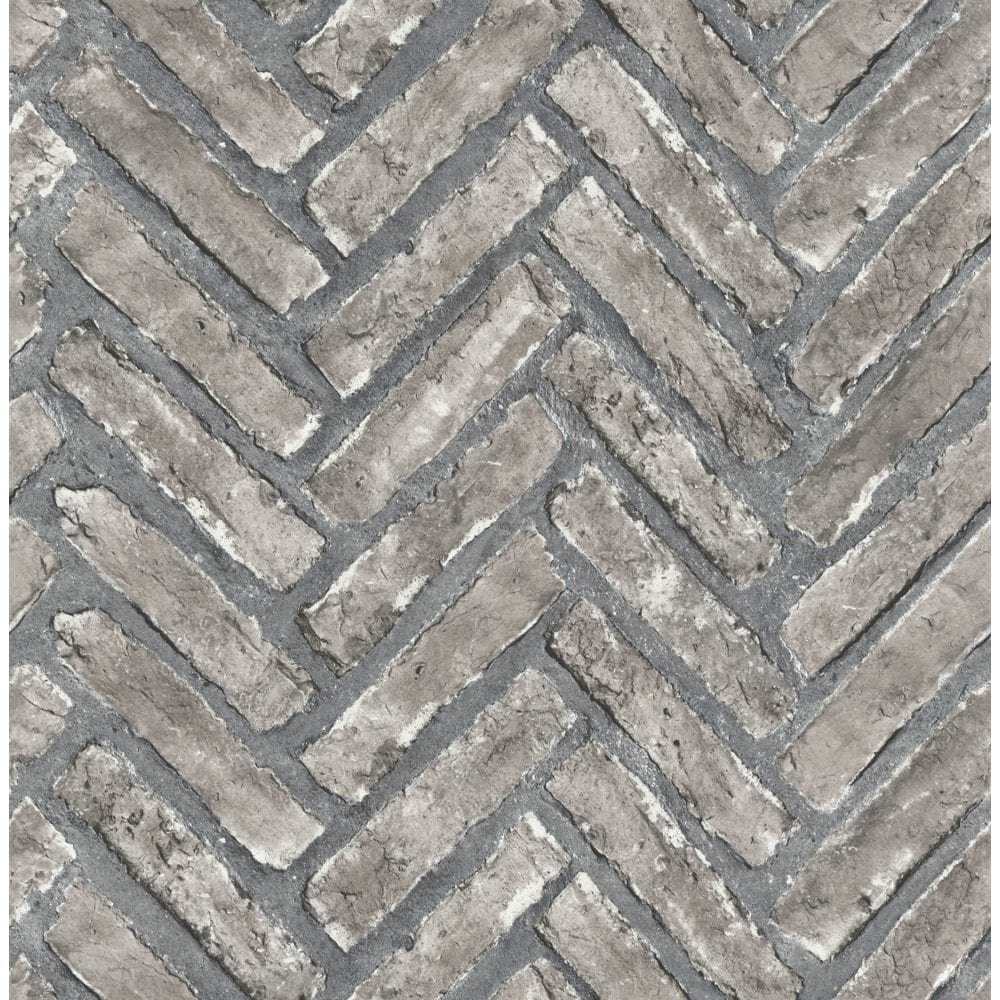 Fine Decor Distinctive Herringbone Brick Wallpaper Stone