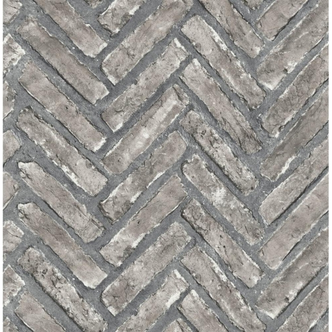 Fine Decor Distinctive Herringbone Brick Wallpaper Stone Grey (FD40885)