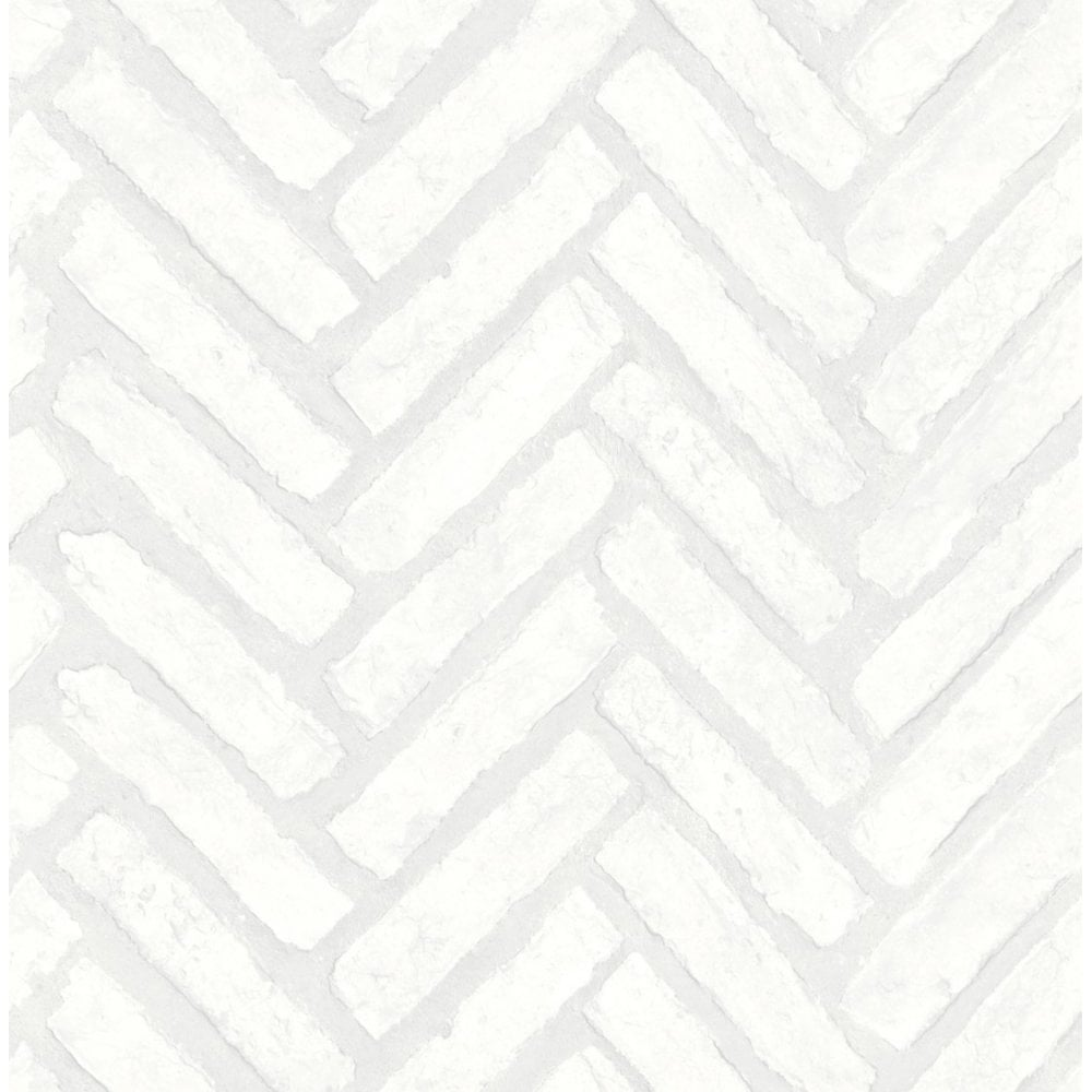Fine Decor Distinctive Herringbone Brick Wallpaper White